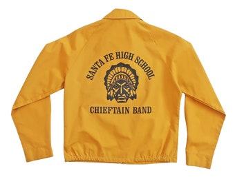 vintage jacket / mustard jacket / band jacket / 1970s High School band mustard Harrington jacket Small