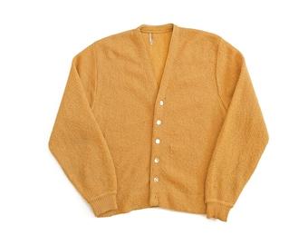 vintage cardigan / grandpa cardigan / mohair cardigan / 1960s golden mohair blend Kurt Cobain cardigan Medium
