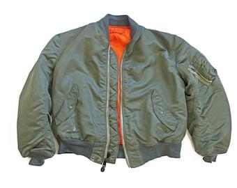 vintage jacket / bomber jacket / MA-1 jacket / 1990s MA-1 Flight Jacket reversible bomber jacket USA Large