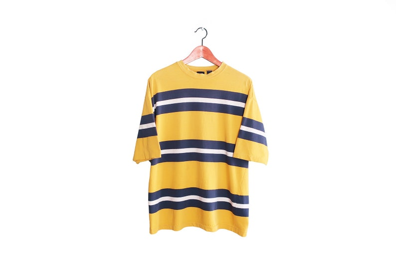 ce3d6d26f206e vintage t shirt / striped t shirt / baggy 90s shirt / 1990s GAP yellow and  blue oversized striped shirt Large