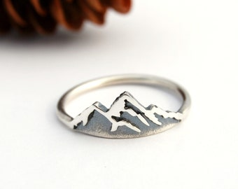 Silver mountain ring - sterling silver mountain - mountain jewelry - silver mountain