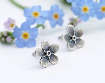 Myosotis earrings - forget me not - myosotis studs - silver myosotis - forget me not earrings - wildflowers earrings - flowers earrings