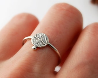 Leaf dot minimalist ring sterling silver botanical ring made to order