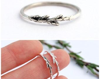 Silver juniper ring - Botanical ring - Juniper ring - Branch ring - Silver branch ring