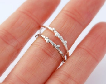 Twig ring larch wood sterling silver willow branch ring