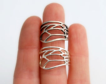 Bee wing ring sterling silver wide honey bee wing band