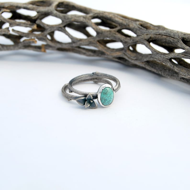 sterling silver succulent plant turquoise cabochon ring one of a kind Succulent and turquoise stack ring set