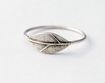 Dainty textured leaf ring sterling silver botanical ring made to order
