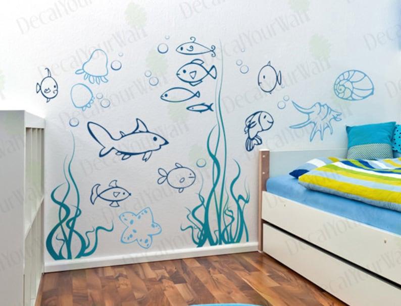 under the sea wall decals underwater ocean fish decal nursery   etsy