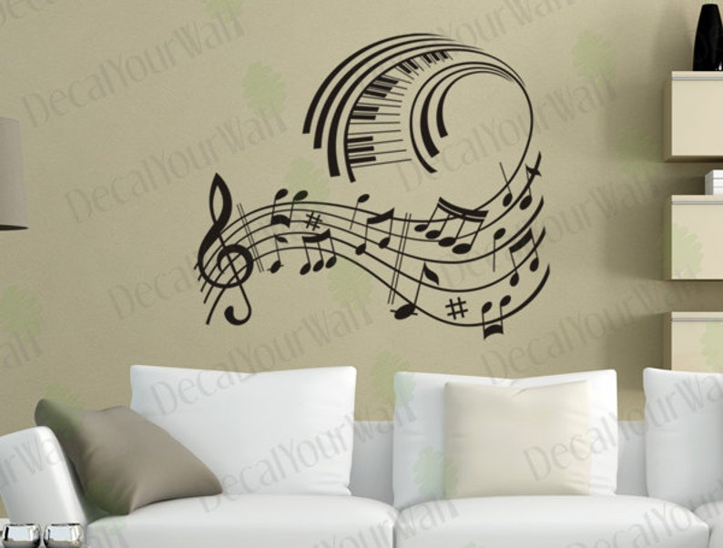 music wall art music note decals musical wall decal stickers | etsy