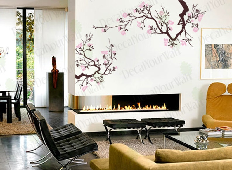 cherry blossom wall decal tree branch stickers japanese large | etsy