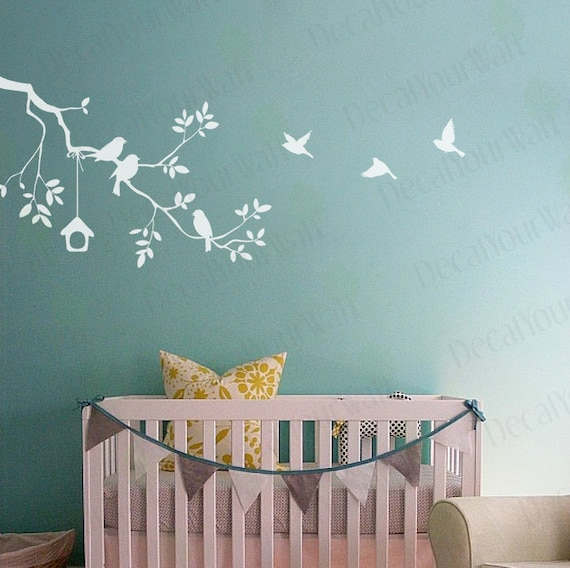 nursery wall decal tree branch white wall stickers birds baby | etsy