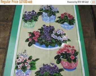 ON SALE Tea Towel Vintage Violets  Very 1970s