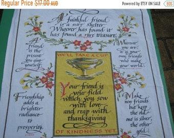 ON SALE Tea Towel Vintage Souvenir -  Friendship Tea Towel