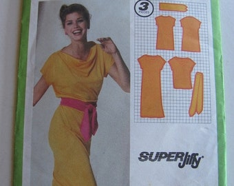 ON SALE 1980's Sewing Pattern - Simplicity 9348 Pullover Dress with tied belt  Size 14 Uncut, Factory Folded