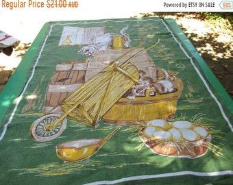 ON SALE Lamont Tea Towel Vintage Featuring - Cat & Dog  Very 1970s