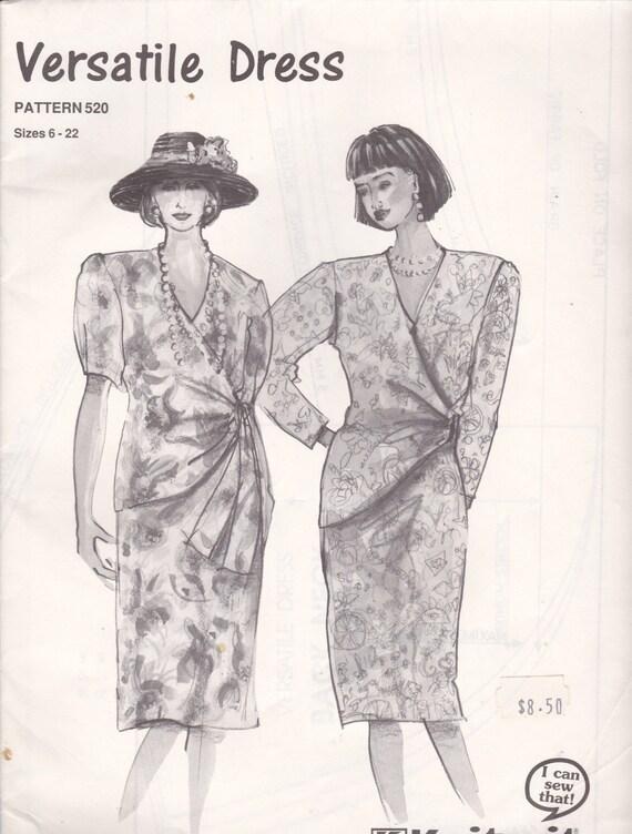1990\'s Sewing Pattern Knitwit 520 Versatile Dress Size 6 | Etsy