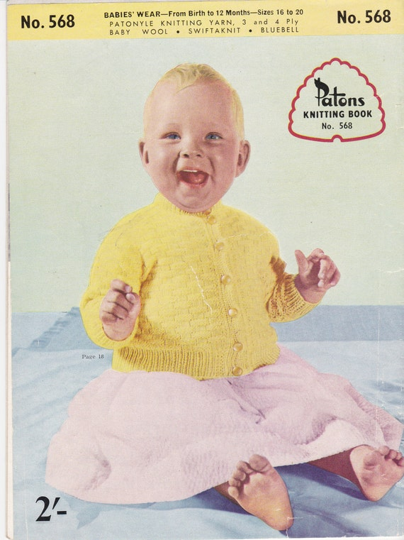 Vintage Patons Childs Two Raglans Up To 9 Months  Knitting Pattern 621