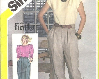ON SALE 1980's Sewing Pattern - Simplicity 5830 Pleated Tapered Pants Size 10 Uncut, Factory Folded