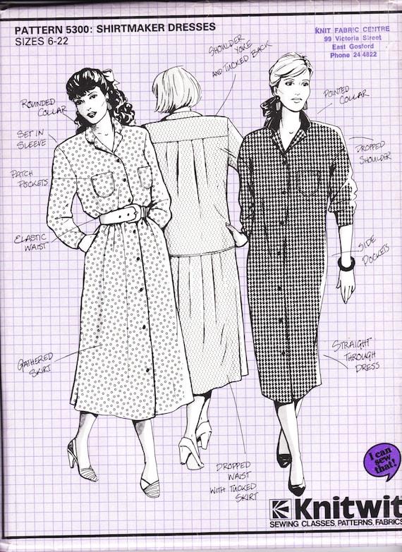 80\'s Sewing Pattern Knitwit 5300 Shirt Maker Dress Size | Etsy