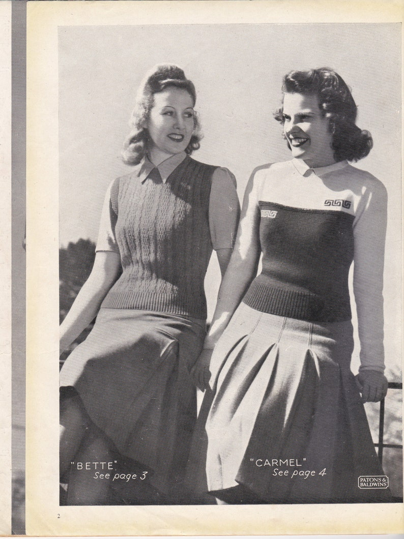 Vintage 1940s Paton's Knitting Pattern No 183 For   Etsy