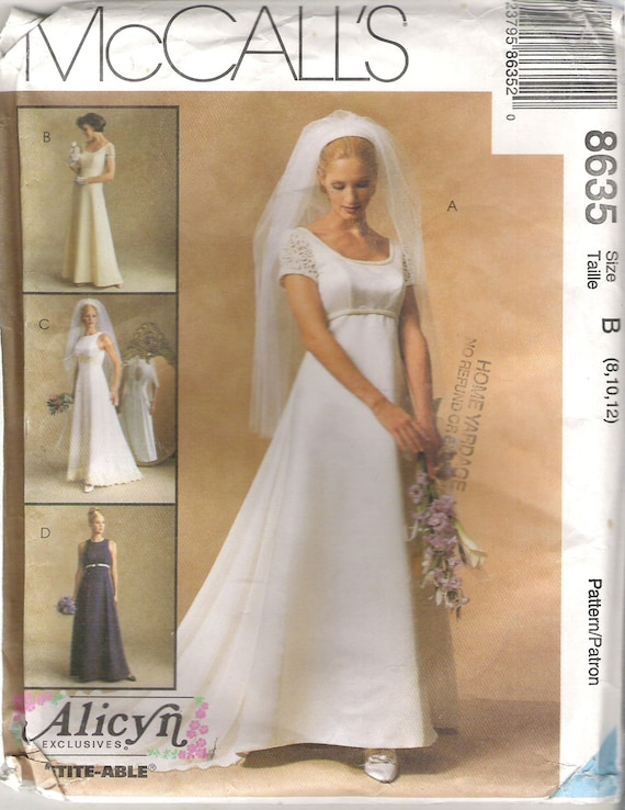 1990\'s Bridal Sewing Pattern - McCall\'s 8635 Empire Waist ...