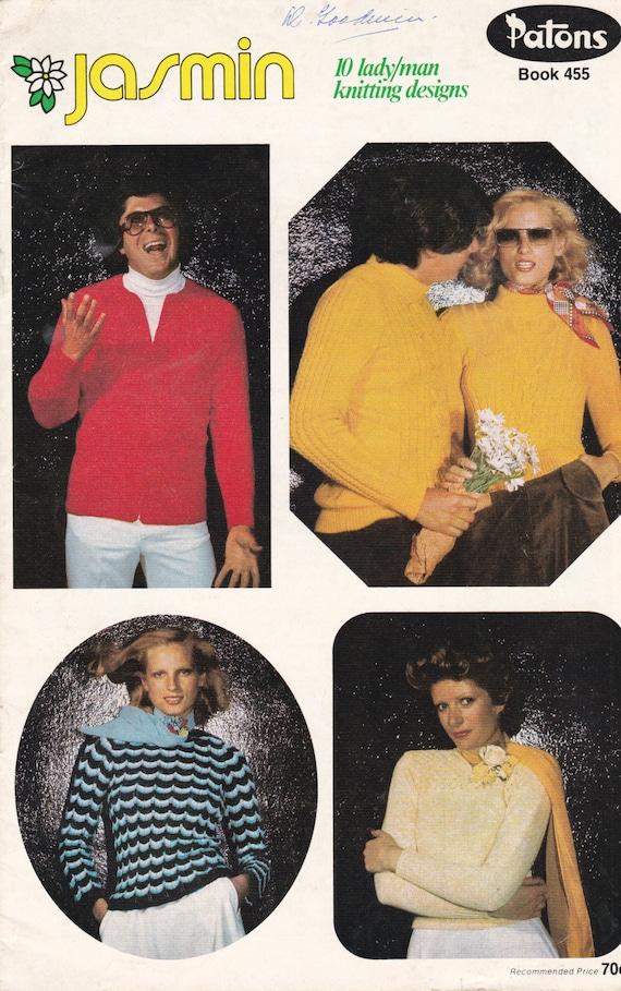 baf764891 Patons Knitting Jasmin Vintage 1970s Men and Women Knitting