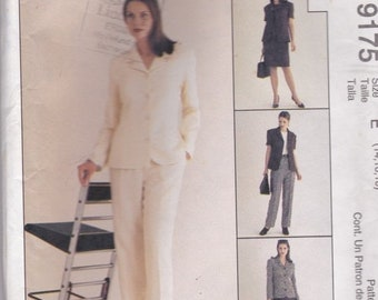 ON SALE 1990s McCalls No 9175 Lined Jacket, Top, Skirt and Pants Size 14-18 Sewing Patterns Uncut, Factory Folded