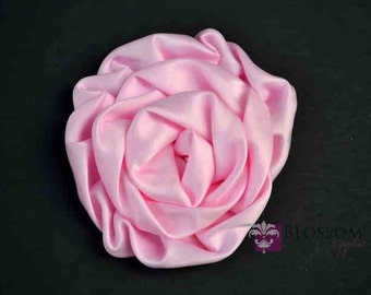 Light pink flower etsy light pink flowers the elizabeth collection large satin ruffled rolled rossettes diy flower headbands blossom supplies wholesale mightylinksfo