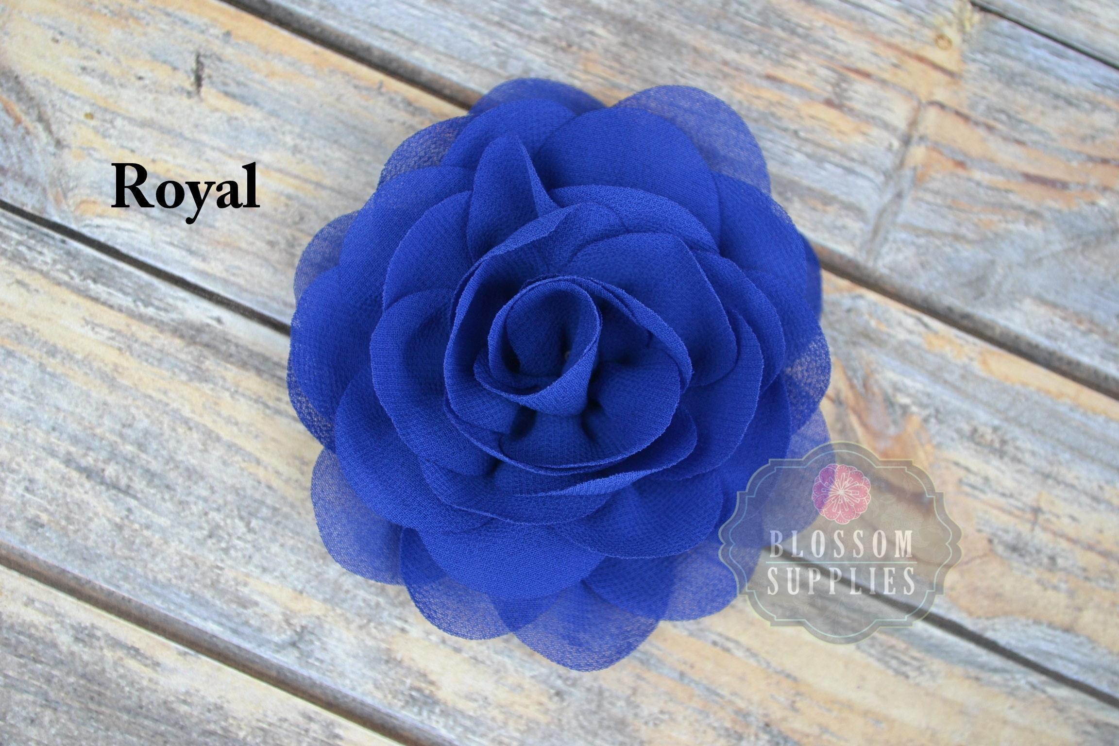 Royal Blue Flowers The Jane Collection 35 Chiffon Petal Puff