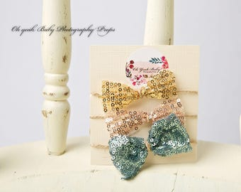 Sequin Bow Tieback - Turquoise, pretty photography prop, newborn, babies, photo shoot, sequins