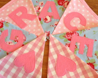 Personalised Bunting Girls Name Banner Pink Blue Floral Gingham Spots - Priced per flag
