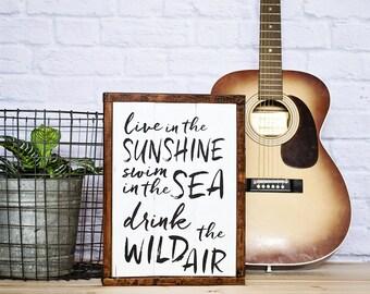 "Bohemian Wall Art, ""Live in the Sunshine Swim in the Sea Drink the Wild Air"", Modern Boho Wall Art, Boho Apartment Art, Typography Art"