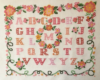 Completed cross stitch Lovely  Alphabet  gold bronze chairs Sampler Completed cross stitch sampler finished Traditional sampler