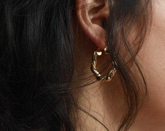 Ss Double Rope Twist Hoop Earring Hoop Earrings