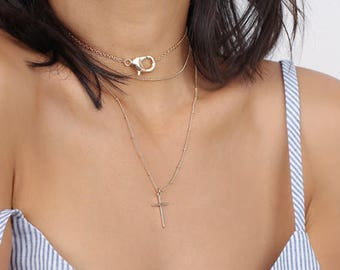 Gold Big Clasp Choker Necklace - Delicate Lobster Choker - Layering Necklace - Minimal Gold Choker