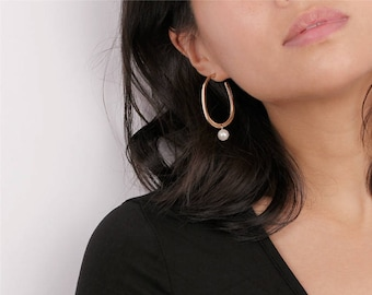 Gold Oval Hoop Dangling Pearl Earrings - Geo Circle Earrings - Pearl Drop Earrings