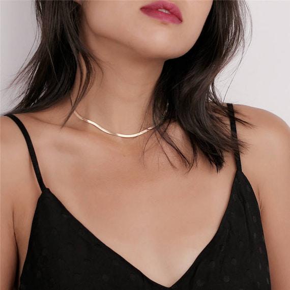 Dainty Gold Snake Chain Choker, Layering Chocker, Boho Choker Necklace, Gold Choker Necklace, Chunky Choker, Bold Choker, Statement Choker by Etsy