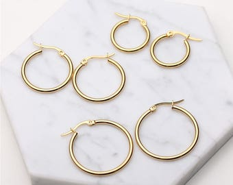 Gold/Silver Hoop Earrings - Geo Circle - Small/Medium/Large Open Circle Hoop Earrings