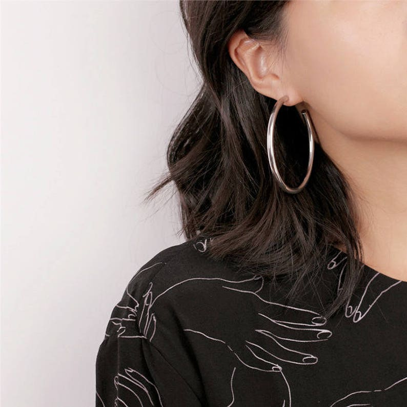 53d3c597df29d6 Gold/Silver Chunky Hoop Earrings Vintage Earrings | Etsy