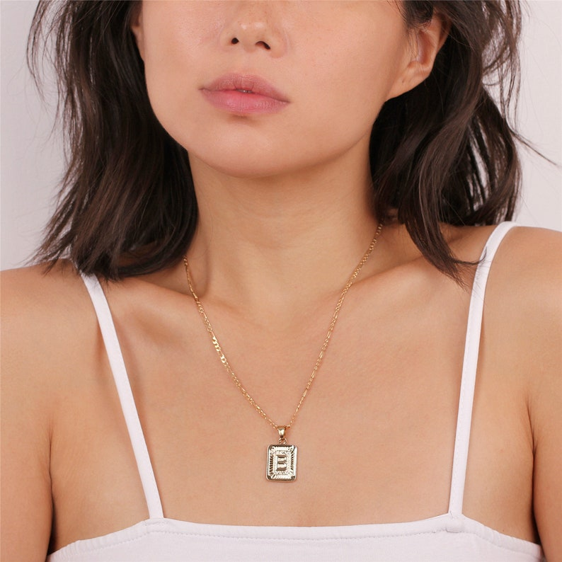 Initial Medallion Initial Necklace Gold Initial Jewelry Initial Tag Necklace Gold Tag Necklace Letter Pendant Rectangle Medallion