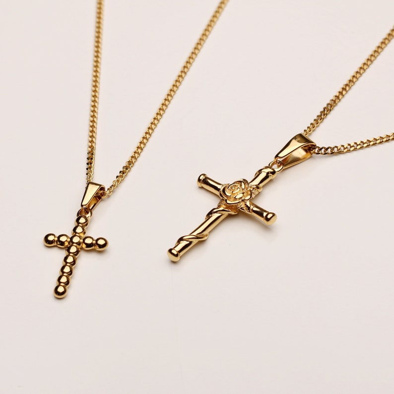 Rose Cross Necklace Jesus Cross Necklace Religious Jewelry Gold Cross Pendant Vintage Necklace Gold Rose Cross Gold Rose Necklace