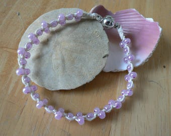 Hemp Bracelet, 7 inch, with pink beads and magnet clasp