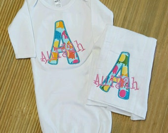 Baby Initial Name Gown and Burp Cloth Duo