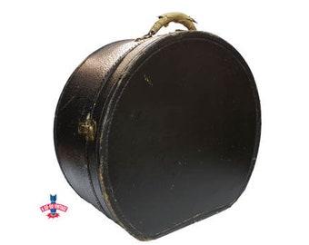 Vintage Round Train Case w/ KEY, Vintage Black Round Suitcase, Antique Hat Box, Vintage Train Case, Carry On Travel Case, Vintage Luggage