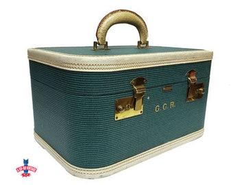 Vintage Train Case, Antique Train Case, Mendel Overnight Travel Case, 1950s Suitcase w/ Leather Trim, Mid Century Modern, Vintage Luggage