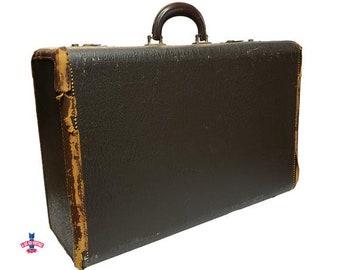 Tuerkes Suitcase, Vintage Leather Suitcase, Antique Luggage, Travel Case, Black Luggage, Photo Display Prop, Vintage Luggage