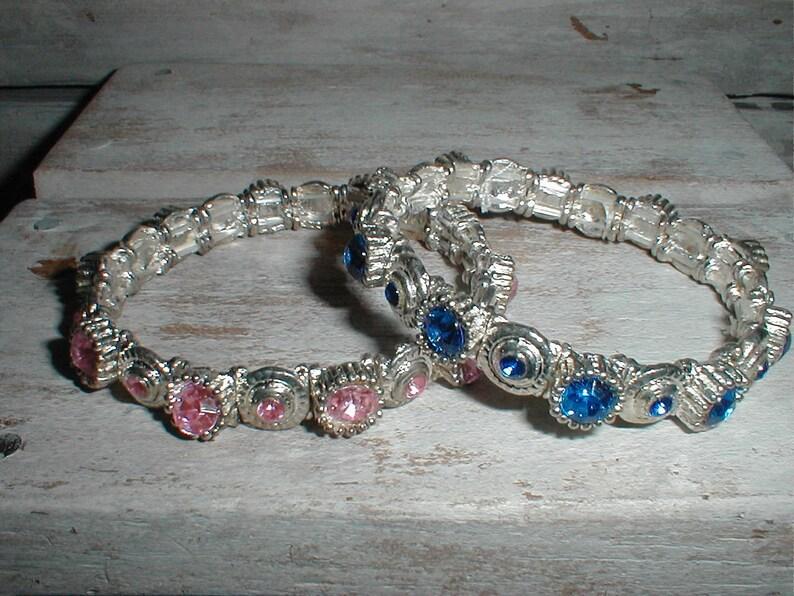 a078ef47819 Two Rhinestone Stretch Bracelets Sparkly Blue & Pink Set In | Etsy