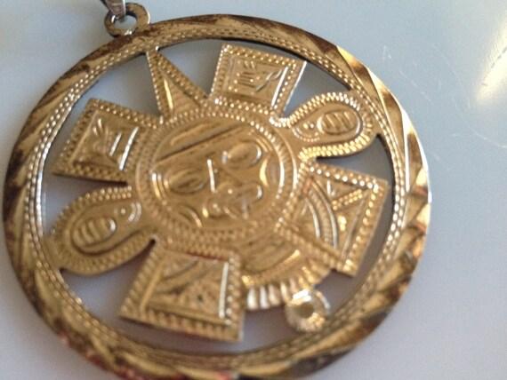 Mayan Aztec Sun God Symbols Pendant Signed Mexico Rcd 925 Etsy
