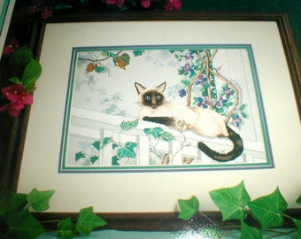 Barbara Macomber's *Samantha's Perch* Counted Cross Stitch Pattern/Leaflet *Siamese Cat*